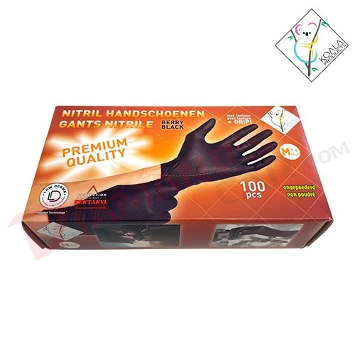 GANTS NITRILE BERRY BLACK 100PCS